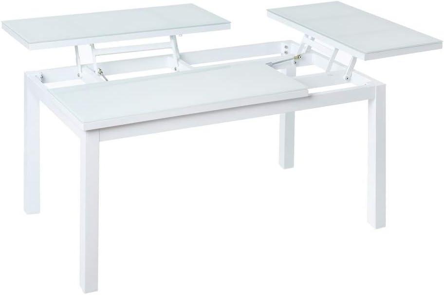 Mesa de jardín abatible de 2 bandejas de Aluminio Blanco de 100x64x48 cm - LOLAhome