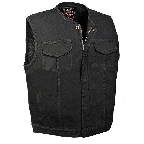 ZOOM LEATHER-Men's Collarless Denim Vest w/Hidden Zipper-BLACK-LG