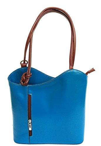 Superflybags Borsa A Mano O Zaino In Vera Pelle modello Micaela Prestige Made In Italy Azzurro marrone