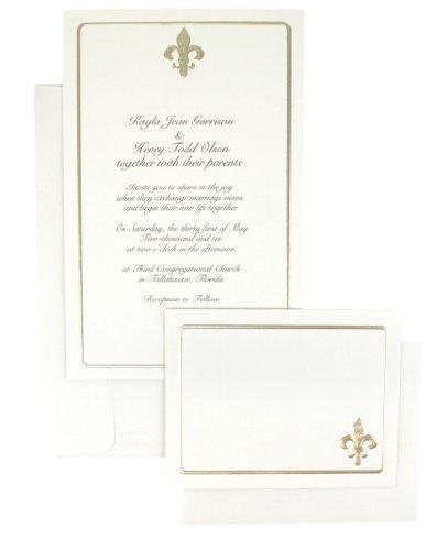 WILTON 50-Count Invitation Kit - Ivory Fleur De Lis - Gold -