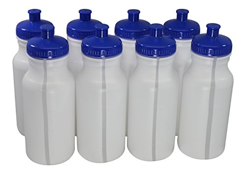 Plastic Push Cap - Sports Squeeze Plastic Water Bottles Push/Pull Cap 20 Ounce Bpa-Free Set 8