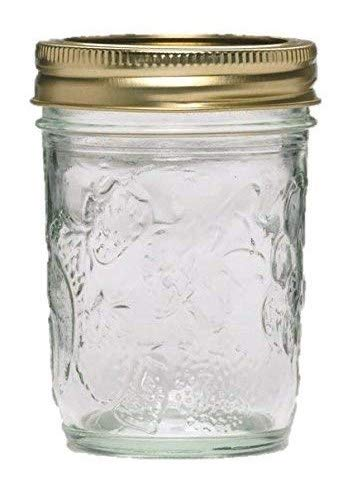 Golden Harvest Mason Jelly Jars 8 oz. Regular Mouth, Vintage Fruit Design (Pack Of 24)