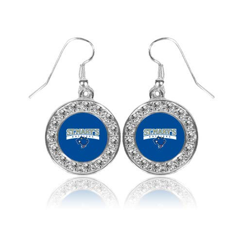 Earrings Primary Logo (CollegeFanGear St Marys Crystal Studded Round Pendant Silver Dangle Earrings 'Primary Logo')