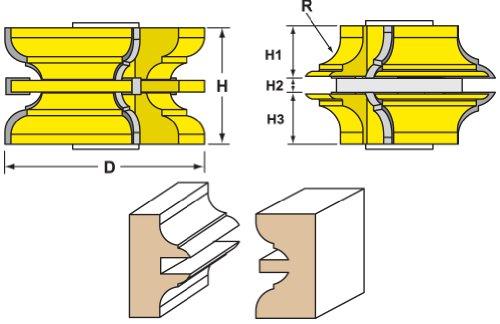 Woodtek 832728, Shaper Cutters, Passage Door Rail & Stile Set, 3/4'' Bore by Woodtek