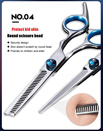 Hair Cutting Scissors Barber Shears Set Professional Razor Straight Edge Thinning Texturizing Hair 6.0'' Stainless Steel Scissors Shears Kit Silver by W.ent (Image #4)