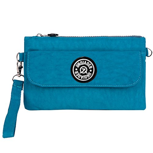 Nylon Ocean Waterproof Clutch Wocharm Wristlet Phone Cell Womens Handbag Bag Ladies Pouch Zipper Blue Purse qOwI4t