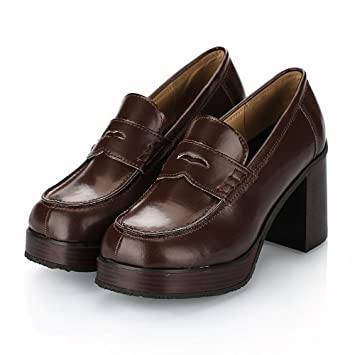 Escuela chica cosplay anime como zapatos a mocasines 484 bworn/japonés Anime Manga cosplay traje uniform_Medium_24cm: Amazon.es: Juguetes y juegos