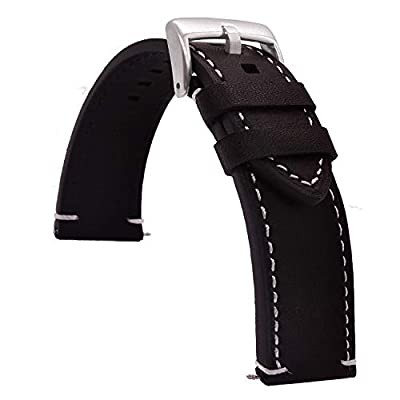 TIME4BEST Leather Watch Band Strap Stitching 18mm 19mm 20mm 21mm 22mm 23mm 24mm by TIME4BEST