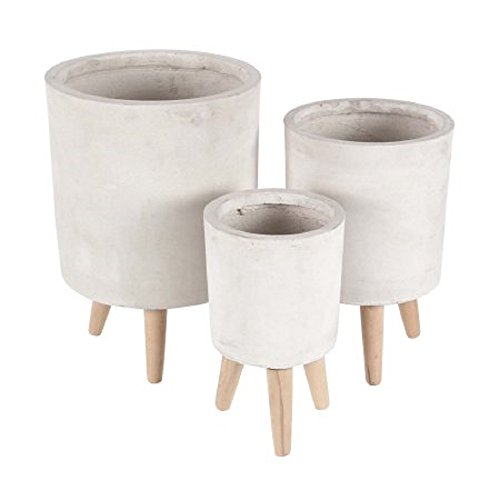Decmode Set of 3 Traditional 12, 15 and 17 Inch Cylindrical Fiberclay Planters, Light clay