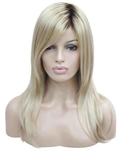Kalyss women's Long Straight Dark roots Ombre Blonde wig 100% Premium japanese Kanekalon As Real Hair (Dark Blonde Wig)