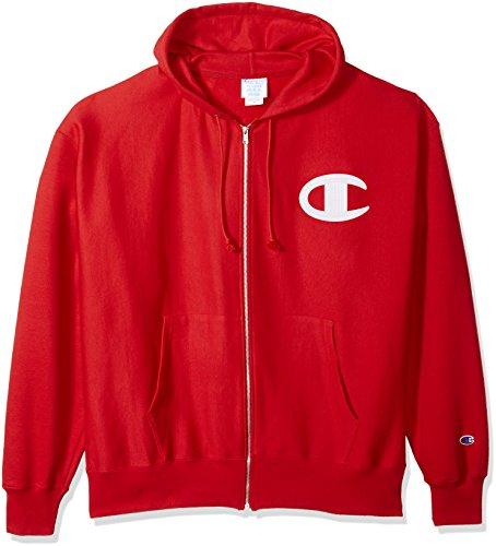 (Champion LIFE Men's Reverse Weave Full-Zip Hoodie, Team red Scarlet/Champion Script Heat Seal L)