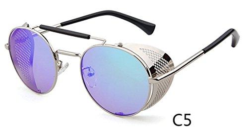 6c3d855966f Flowertree STY056 Metal Frame Side Shield Oval 52mm Sunglasses  (silver+green) From flowertree