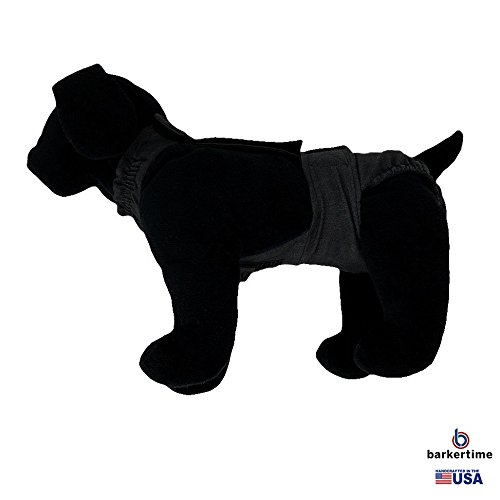 Barkertime Dog Diaper Overall - Made in USA - Charcoal Gray Escape-Proof Washable Dog Diaper Overall, XXL, Without Tail Hole for Dog Incontinence, Marking, Housetraining and Females in Heat