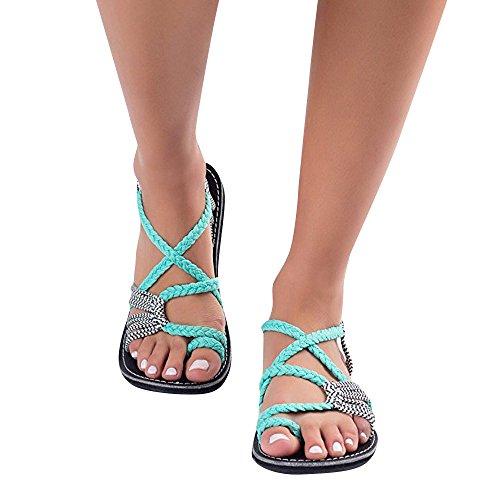 Scarpe Moda Intrecciati Intrecciate Verde Cinghie Moda Corda Pantofole Sandali Intrecciato Sandali Spiaggia Estivi Cinghie Pantofole ALIKEEY Scarpe Donna Incrociate WpcUX8nqWC