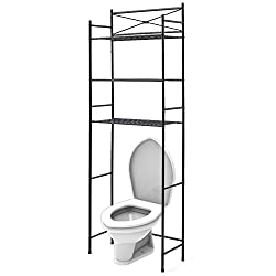 Ezoware 3 Tier Metal Over The Toilet Storage Shelf, Space Saver Organizer For Bathroom, Towel Stand Rack Shelves - Black