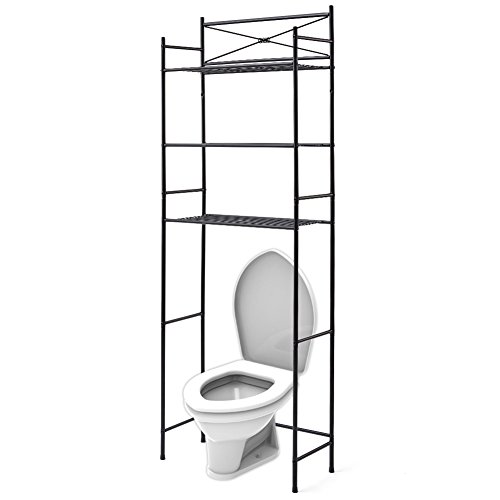 (EZOWare 3 Tier Metal Over The Toilet Shelf, Space Saver Organizer for Bathroom, Rack Shelves - Black )