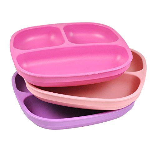 Re-Play 3pk Divided Plates with Deep Sides for Easy Baby, Toddler, Child Feeding (Princess)