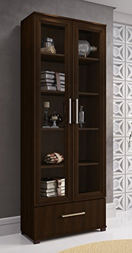 Manhattan Comfort Serra 1.0 Bookcase Collection Modern 5 Shelf Bookcase Display Case with 2 Glass Doors and 1 Bottom Drawer, Tobacco (Cabinet Glass Corner)
