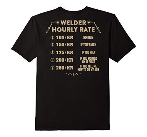 Mens Welding Shirt - Welder Hourly Rate Medium Black