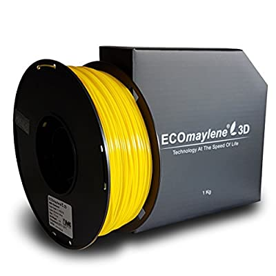 ECOmaylene3D ABS Printer Filament 1Kg Spool Banana Yellow 1.75mm Dimensional Accuracy +/- 0.05 mm | Consistent 3D Printing, Great Density & Layer Bonding, Low to No Warping, Low to No Odor & Easy Use