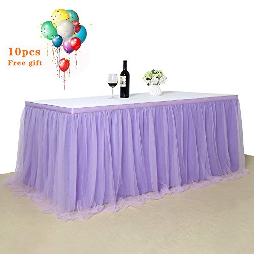 Light purple Tulle Tutu Table Skirt 3 yards Tulle Table Cloth Skirt Customized Romantic Girl Princess Birthday Party Table Skirts Banquet Table Decorations L9ft H 30in]()