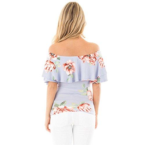QIYUN.Z Cuello De La Moda De Las Mujeres Cuello Floral Impreso Falbala Delgado Ajuste Camisetas Flor Tops Azul Claro