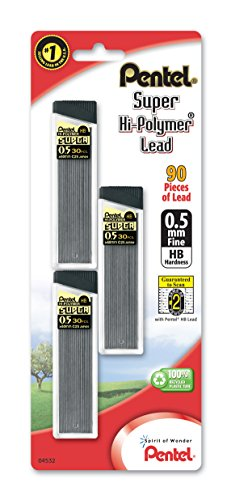pentel-super-hi-polymer-lead-refills-05-mm-90-pieces-c25bphb3-k6