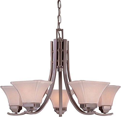 Minka Lavery Chandelier Pendant Lighting 1815-84, Agilis Glass 1 Tier Dining Room, 5 Light, 500 Watts, Nickel