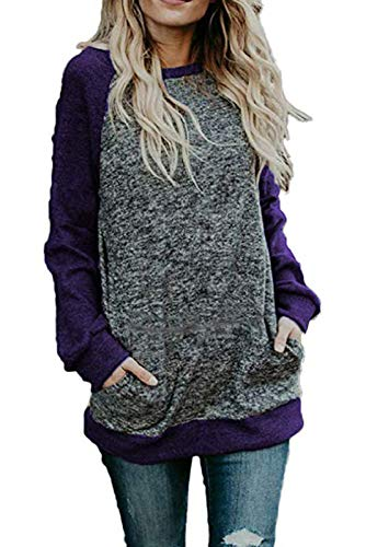 Alelly Womens Cowl Neck Long Sleeve Casual Tunic Sweater Tops Pullover