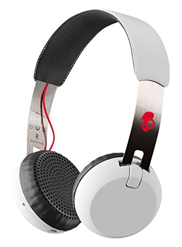 Skullcandy Grind Bluetooth Wireless On-Ear Headphones with Built-In Mic and Remote, White