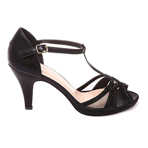 La Modeuse - Sandalias de Vestir de Material Sintético Mujer negro
