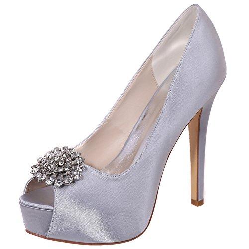 Loslandifen Femmes Pompes De Mariage En Satin Strass Peep Toe Talons Hauts Talons Chaussures Argent / 3128-20a