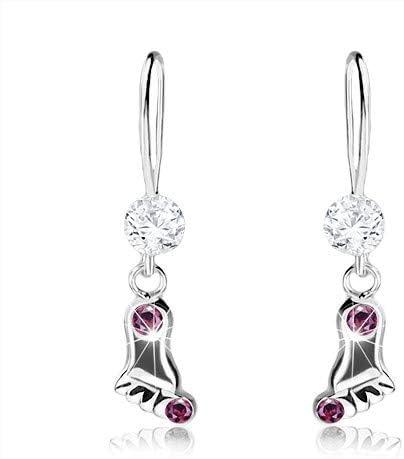OrdoŠ Diamonds® Plata 925, cristales de Swarovski, superficie lisa y brillante, piedras claras, pendientes de plata 925, pierna, color lila, 0,6 g