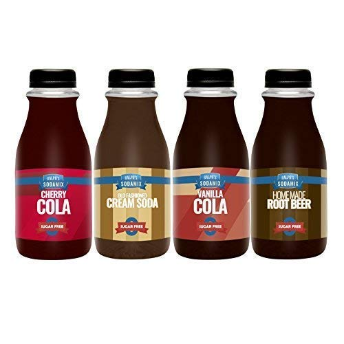 Ralph's 4 SUGAR FREE Diet Sparkling Water Sodamix Flavor Pack | Cherry Cola | Root Beer | Vanilla Cola | Cream Soda | Four 12oz Bottles