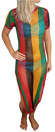 (Crystal Ladies Striped Strech Rasta Maxi Dress Cover up 100% Cotton String Mesh Fishnet Short Sleeve with Side Splits One Size (One Size fits UK 6-14, Black/Red/Gold/Green))