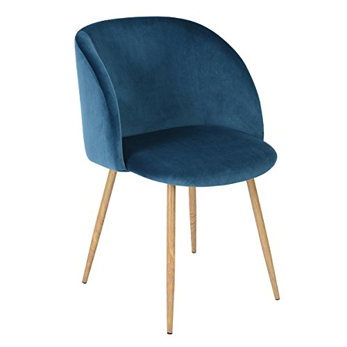 Mid Century Velvet Living Room Accent Armchair, Modern Leisure Chair Club Chair with Strong Steel Legs for Bedroom Reception Room Accent Furniture,Blue (Blue Accent Chairs For Living Room)