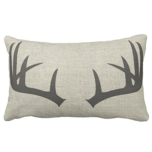 UOOPOO Deer Antlers | Lumbar Throw Pillow Case Square 12 x 20 Inches Soft Cotton Canvas Home Decorative Wedding Cushion Cover for Sofa and Bed One Side ()