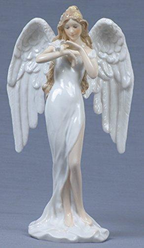 Green Glazed Porcelain - 9 Inch White Glazed Porcelain Guardian Angel Green Dress Stroking Dove
