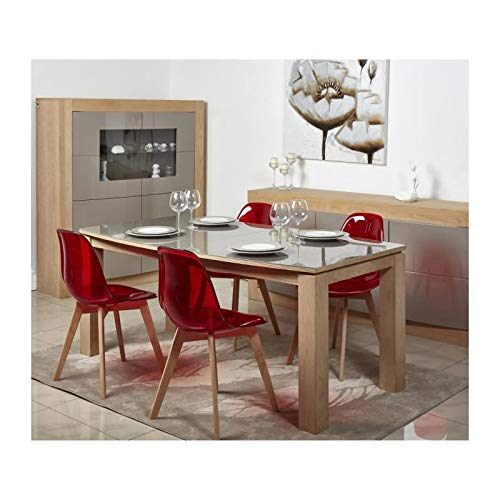 Style scandinave Rouge G/én/érique Brooklin Lot de 4 chaises de Salle a Manger l 47 x p 53 cm AUCUNE