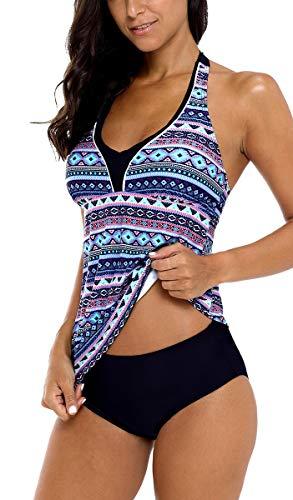 belamo Tankini Swimwear Women Halter Two Piece Paisley Swimsuit Tankini Set XL