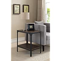 Kings Brand Antique Finish Side End Table , Black / Walnut