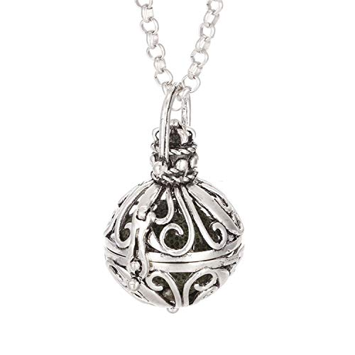 1pc Vintage Silver Hollow Water Drop with Crystal Copper Open Beads Cage Essential Oil Aroma Diffuser Pendant Necklace,Style 12