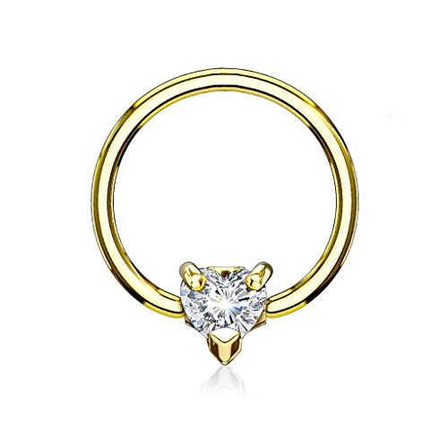 16g Captive Ring (16GA CZ Crystal Heart Septum / Cartilage Captive Bead Ring - Available in Multiple Colors (Gold Tone / Clear))