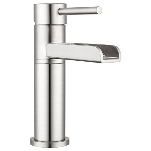 (Lakewood Waterfall Single-Lever Bathroom Faucet by Pacific Bay (Brushed Satin Nickel) - Features a Multi-Tiered Cascading Waterfall - New 2019 Model)