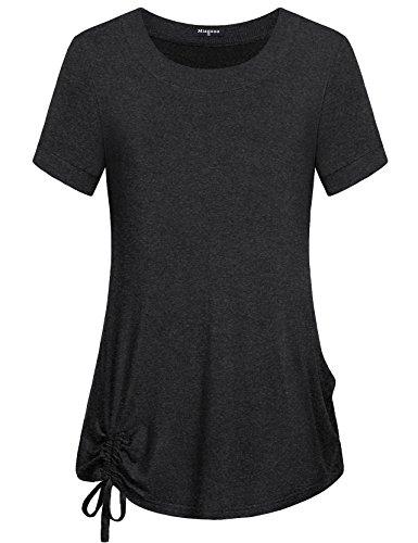 Drawstring Shirt - Miagooo Short Sleeve Tops for Women, Junior's Crew Neck T Shirt Adjustable Drawstring Sides Shirring Curved Hem Short Sleeve Blouse(Dark Gray,XX-Large)