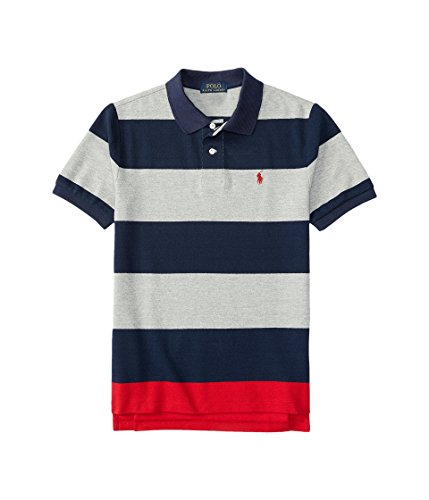 - Polo Ralph Lauren Kids Yarn-Dyed Mesh Stripe Polo Shirt Big Kids Andover Heather Multi Boy's Short Sleeve Knit