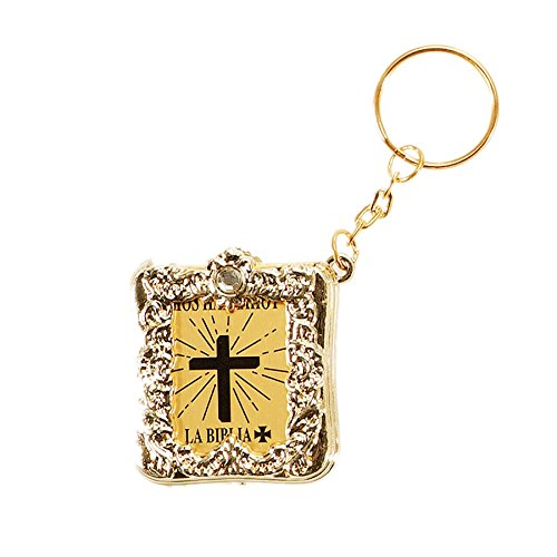 Spanish La Biblia - Holy Bible Keychain With A Real Miniature Paper Bible - One Dozen