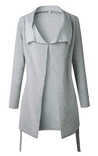 Otoño Asimétrico Atada Larga Outwear Mujer la Cintura Elegante Coat Gris Invierno Abrigo a Chaqueta Hem La Minetom Blazer 01 Manga Cardigans qwC8EUvW