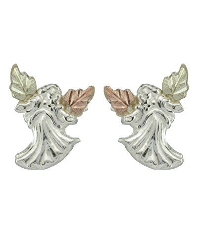 Angel Earrings, Sterling Silver, 12k Green and Rose Gold Black Hills Gold Motif by The Men's Jewelry Store (for HER)
