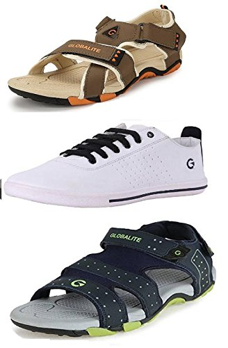 2063525380b5 Globalite Men`s Combo of Casual Shoe and Sandal (1 Pair Shoe and 2 Pair  Floaters) Target  Men